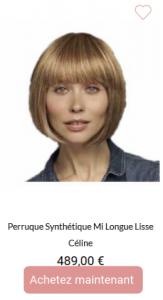Perruque synthétique mi longue lisse Céline