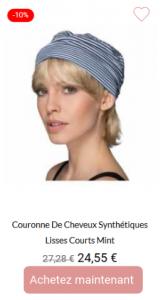 couronne de cheveux synthétiques lisse courte Mint
