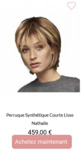 Perruque Synthétique Courte Lisse Nathalie