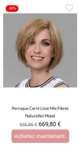 Perruque carré lisse mix fibres naturelles mood