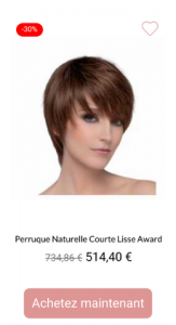 Perruque naturelle courte lisse Award - 1001perruques.com