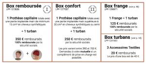 Tableau des remboursements prothèses capillaire sécurité sociale 1001Perruques