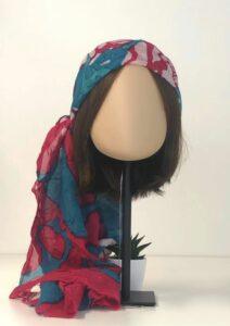 Les accessoires pour cheveux tendances de l'été 2021 Foulard Togo Fuchsia Sky Blue